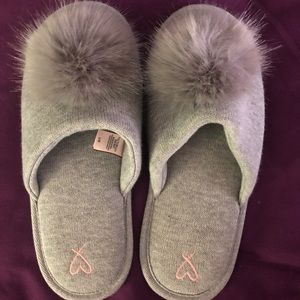 Victoria Secret Grey Pom Pom Slip on Slippers